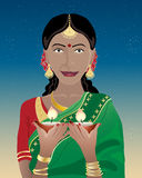 Happy diwali. An illustration of an indian lady dressed in a saree holding diwali lamps under a dark starry sky royalty free illustration