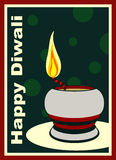 Happy Diwali. Card with oil lamp