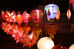 Happy Diwali. Colorful lanterns with 'Happy Diwali' captions and pictures of gods and goddesses, beautiful lit on the occasion of Diwali festival in India Royalty Free Stock Image