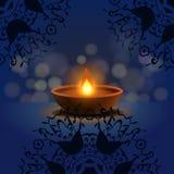 Happy Diwali Background. Burning Candle On Dark Background. Abstract beautiful Happy Diwali background. Burning candle on dark background. EPS 10 stock illustration