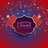 Happy diwali background with burning crackers and sparkles. Vector Royalty Free Stock Images