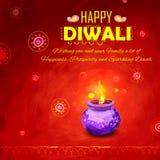 Happy Diwali background coloful watercolor diya Stock Image