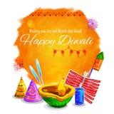 Happy Diwali background coloful watercolor diya Stock Images