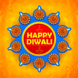 Happy Diwali background coloful watercolor diya Royalty Free Stock Photography