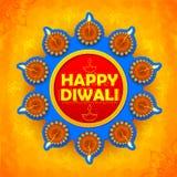 Happy Diwali background coloful watercolor diya Royalty Free Stock Photography