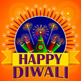 Happy Diwali background with colorful firecracker Stock Images