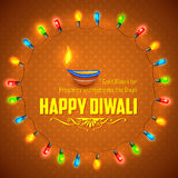 Happy Diwali background decorated with light royalty free illustration