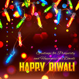 Happy Diwali background decorated with light Royalty Free Stock Images