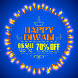 Happy Diwali background decorated with light stock illustration