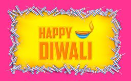Happy Diwali background with diya and firecracke. Illustration of Happy Diwali background with diya and firecracke Royalty Free Stock Photography