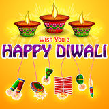 Happy Diwali background with diya and firecracker Royalty Free Stock Photography