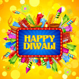 Happy Diwali background with diya and firecracker Stock Images