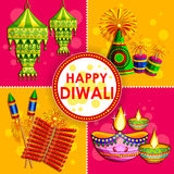Happy Diwali background with diya and firecracker. Illustration of Happy Diwali background with diya and firecracker Stock Photography