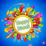 Happy Diwali background with diya and firecracker. Illustration of Happy Diwali background with diya and firecracker Royalty Free Stock Photography