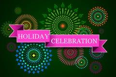 Happy Diwali background with diya and firecracker Stock Photo