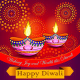 Happy Diwali background with diya and firecracker. Illustration of Happy Diwali background with diya and firecracker