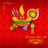 Happy Diwali background with diya and firecracker for light festival of India. Illustration of diya and firecracker on Happy Diwali Holiday background for light Stock Photo