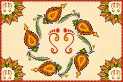 Happy Diwali background with diya Stock Image