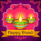 Happy Diwali background with diya Stock Photography
