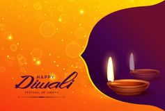 Happy diwali background with diya and sparkles. Vector Royalty Free Stock Photos