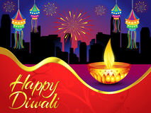 Happy diwali background with golden deepak Stock Photo