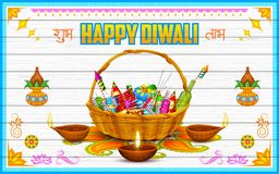 Happy Diwali Background. Illustration of Happy Diwali Background with firecracker and diya Stock Photography