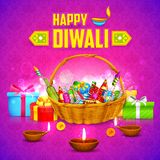 Happy Diwali Background. Illustration of Happy Diwali Background with firecracker and diya Royalty Free Stock Photos