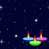 Happy Diwali background with lamps fire candle. Happy Diwali background with ornamental lamps fire candle on background night sky with stars. Greeting card Stock Photos