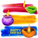 Happy Diwali banner coloful watercolor diya Royalty Free Stock Photos
