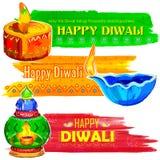 Happy Diwali banner coloful watercolor diya Royalty Free Stock Photo