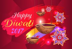 Happy Diwali 2017 Banner with Flowers and Lamps. Happy Diwali 2017 banner with text.  vector illustration of flowers with colorful pattern and glowing oil lamps Royalty Free Stock Photo