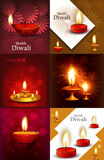 Happy diwali beautiful 6 collection presentation. Colorful hindu festival background stock illustration
