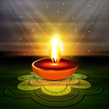 Happy diwali beautiful diya rangoli colorful hindu Royalty Free Stock Images