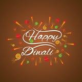 Happy diwali card design. Happy diwali greeting card with fire cracker design Stock Photo