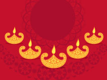 Happy Diwali celebration background. Happy Diwali celebration background decorated with creative oil lamps and floral design, Elegant greeting card with space Stock Photos