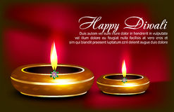 Happy diwali celebration background with deepak. Vector illustration Royalty Free Stock Images