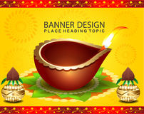 Happy diwali celebration background with golden pot Royalty Free Stock Photos