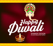 Happy diwali celebration background with lord ganesha. Vector illustration Royalty Free Stock Photos