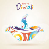Happy Diwali celebration with colourful lit lamp. Creative colourful lit lamp for Indian Festival of Lights, Happy Diwali celebration