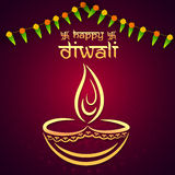 Happy Diwali celebration with creative lit lamp. Stock Photo