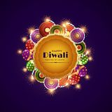 Happy diwali celebration festival greeting with burning crackers. Vector Stock Photos