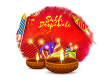 Happy Diwali celebration with firecrackers. Creative background with illuminated Oil Lamps and colorful Firecrackers for Shubh Deepawali (Happy Deepawali or Royalty Free Stock Photography