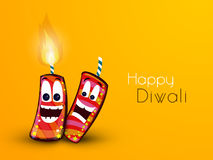 Happy Diwali celebration with firecrackers. Creative funny firecrackers on yellow background for Indian Festival of Lights, Happy Diwali celebration Stock Images