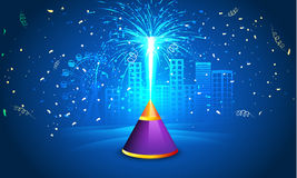 Happy Diwali celebration with firecrackers. Indian Festival of Lights, Happy Diwali celebration with exploded firecracker on shiny blue urban city background Royalty Free Stock Photography