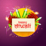 Happy Diwali celebration with firecrackers. Indian Festival of Lights, Happy Diwali celebration with various firecrackers on seamless backrground Stock Photography