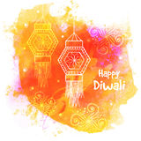 Happy Diwali celebration with hanging lamps. Stock Photography
