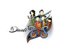Happy Diwali creative flyer for Diwali festival. Vector illustration Stock Photos