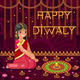 Happy diwali cute indian girl woman in native traditional clothes fire celebration flat design vector illustration Royalty Free Stock Photo
