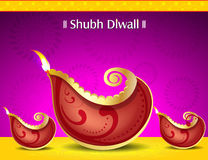 Happy diwali deepak background with floral Royalty Free Stock Images