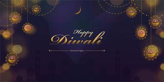 Happy diwali design. With hanging decorations on mosque background stock illustration
